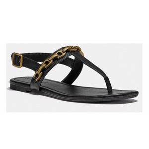 Coach Jenna Signature Chain T-Bar Sandals Size 5